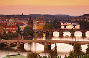Vltava River Posters - Charles Bridge & The River Vltava At Sunset Poster by Douglas Pearson