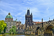 Charles Bridge Prints - Charles Bridge and Church Dome Print by Jon Berghoff