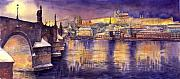 Charles Bridge Painting Metal Prints - Charles Bridge and Prague Castle with the Vltava River Metal Print by Yuriy  Shevchuk