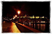 Vltava River Posters - Charles Bridge at Night 2 Poster by Madeline Ellis