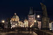 Charles Bridge Prints - Charles Bridge at Night Print by Javier De la Torre