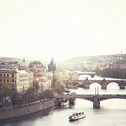 Prague Photo Posters - Charles Bridge Crossing Vltava River Poster by Image - Natasha Maiolo