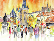 Republic Drawings Posters - Charles Bridge in Prague in The Czech Republic Poster by Miki De Goodaboom