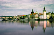Charles Bridge Prints - Charles Bridge Over Vltava River Print by Bernd Schunack