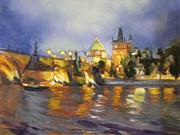 Prague Painting Framed Prints - Charles Bridge Framed Print by Vicki Ross
