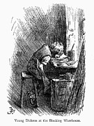 Tired Posters - CHARLES DICKENS (1812-1870). English novelist. The very young Charles Dickens working at a blacking warehouse in London. Wood engraving, late 19th century Poster by Granger