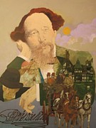 Signature Mixed Media Prints - Charles Dickens Print by Chuck Hamrick