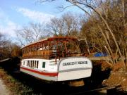 Historic Pyrography Prints - Charles E Mercer Boat - Great Falls MD Print by Fareeha Khawaja