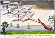 Wild Geese Flying Posters - Charles Fox: Cartoon, 1782 Poster by Granger