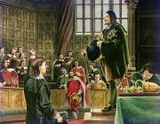 Five Canvas Paintings - Charles I in the House of Commons by English School
