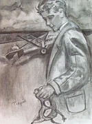 Vintage Aircraft Paintings - Charles Lindbergh and the Spirit of St. Louis at Schenectady by Betty Pieper