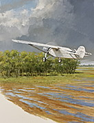 St. Louis Mixed Media Posters - Charles Lindbergh Taking Off Poster by Cliff Spohn