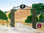 Region Paintings - Charles R Winery Gate by Mike Robles