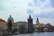 Destinations Digital Art Posters - Charles Street Bridge and Old Town Prague Poster by Paul Pobiak