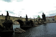 Prague Czech Republic Digital Art Posters - Charles Street Bridge in Prague Poster by Paul Pobiak