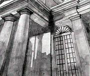 Pillar Drawings - Charleston Building Sketch by Jason Moore