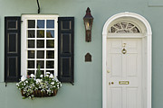 Gas Lamp Framed Prints - Charleston Doorway - D006767 Framed Print by Daniel Dempster