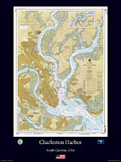 Nautical Chart Photos - Charleston Harbor by Adelaide Images