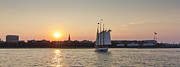 Schooner Prints - Charleston Harbor Sunset Schooner Print by Dustin K Ryan