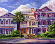 Skies Painting Framed Prints - Charleston Houses Framed Print by Jeff Pittman