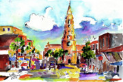 Charleston Painting Posters - Charleston North Market Street Poster by Ginette Fine Art LLC Ginette Callaway