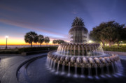 Charleston Digital Art Originals - Charleston Pineapple Fountain Sunrise by Dustin K Ryan