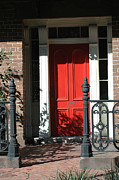 Victorian Style Posters - Charleston Red Door and Black Iron Gate Poster by Kathy Fornal