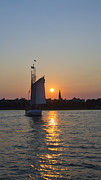 Charleston Sunset Posters - Charleston Schooner Sunset Poster by Dustin K Ryan