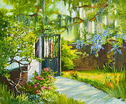 Charleston Painting Posters - Charleston Side Garden Poster by Jane Woodward