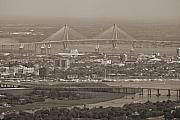 Sepia Acrylic Prints - Charleston South Carolina Aerial by Dustin K Ryan