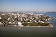 Rainbow Row Framed Prints - Charleston South Carolina Battery Waterfront Aerial Framed Print by Dustin K Ryan