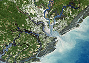 Satellite Image Posters - Charleston, South Carolina, Usa Poster by Planetobserver