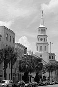 Palmettos Framed Prints - Charleston Street Scene in Black and White Framed Print by Suzanne Gaff