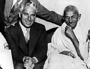 Gandhi Prints - Charlie Chaplin And Mahatma Gandhi Print by Everett
