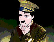Film Star Mixed Media Prints - Charlie Chaplin Print by Charles Shoup