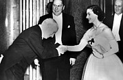 Long Gloves Photo Prints - Charlie Chaplin Meeting Princess Print by Everett