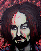 Serial Killer Painting Prints - Charlie Manson Print by Justin Coffman