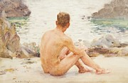 Youth Framed Prints - Charlie Seated on the Sand Framed Print by Henry Scott Tuke