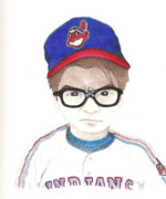 Cleveland Drawings Framed Prints - Charlie Sheen a.k.a Rick Vaughn Framed Print by Gerard  Schneider Jr