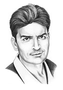 Celebrity Drawing Drawings Prints - Charlie Sheen Print by Murphy Elliott