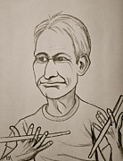 Drummer Drawings Framed Prints - Charlie Watts Framed Print by Pete Maier