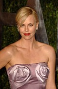 Pink Lipstick Framed Prints - Charlize Theron Wearing A Dior Haute Framed Print by Everett