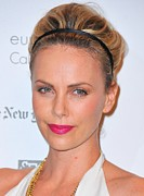 Pink Lipstick Art - Charlize Theron Wearing A Jennifer Behr by Everett