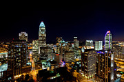 Charlotte Prints - Charlotte NC close in at night Print by Patrick Schneider