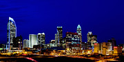 North Carolina Posters Framed Prints - Charlotte NC Skyline at dusk Framed Print by Patrick Schneider