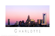 North Carolina Posters Framed Prints - Charlotte NC Skyline pink sky Framed Print by Patrick Schneider