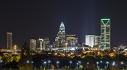 Skyscapers Prints - Charlotte Night Print by Brian Young