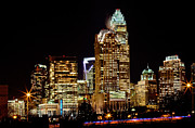 Mecklenburg County Prints - Charlotte night skyline Print by Patrick Schneider