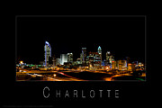 Charlotte Posters Framed Prints - Charlotte skyline at night Framed Print by Patrick Schneider