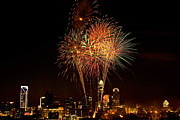 Mecklenburg County Photos - Charlotte skyline fireworks by Patrick Schneider